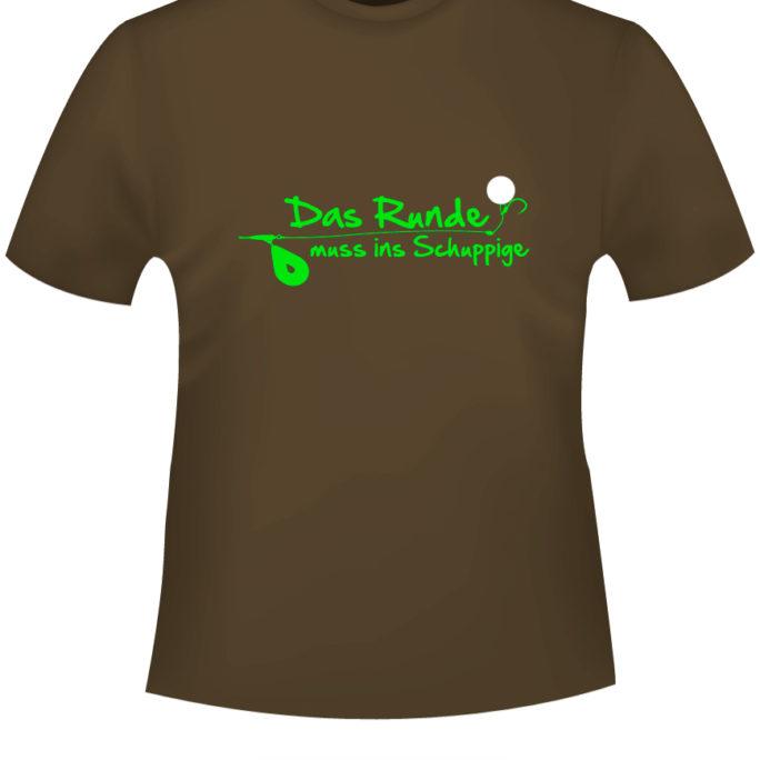 Das-Runde-muss-ins-Schuppige - DasRunde-T-Shirt-braun-neongruen.jpg - not starred