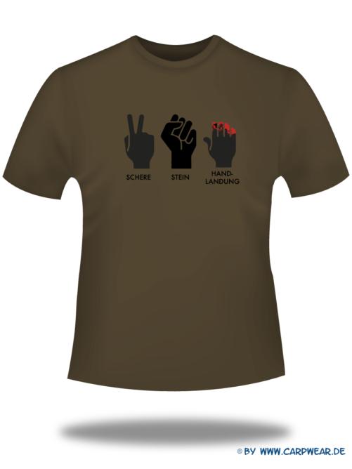 Handlandung - T-Shirt-Handlandung-Braun-Motiv-Schwarz.png - not starred