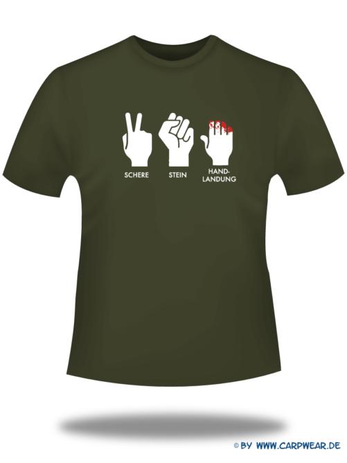 Handlandung - T-Shirt-Handlandung-Khaki-Motiv-Weiss.png - not starred