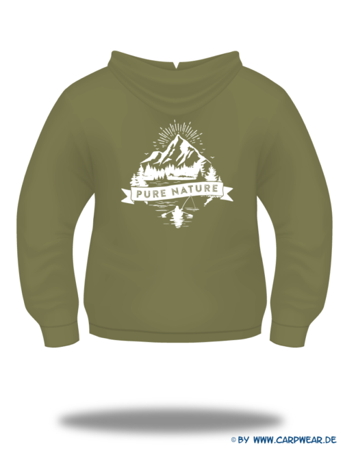 PureNature - Hoody-PureNature-Khaki-Motiv-Weiss-Rücken.png - not starred