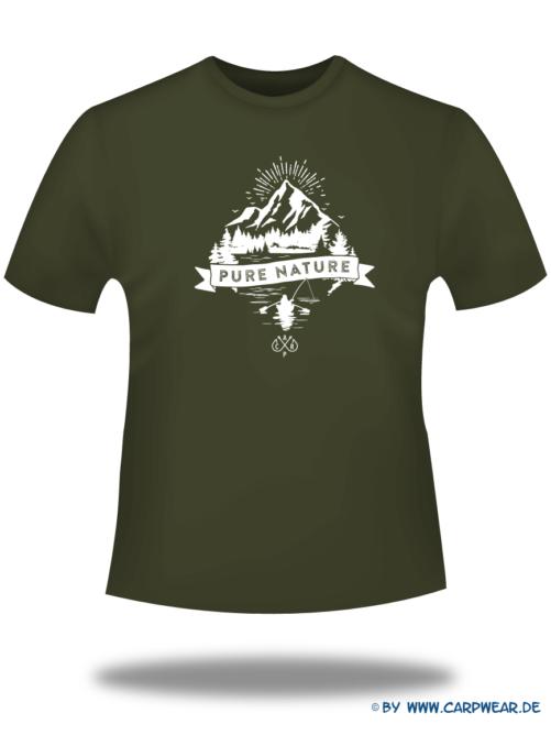 PureNature - T-Shirt-PureNature-Khaki-Motiv-Weiss.png - not starred