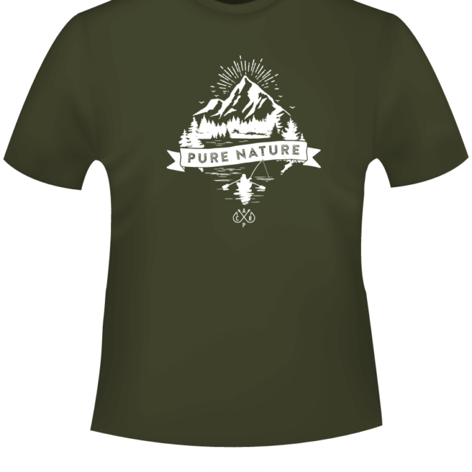 PureNature - T-Shirt-PureNature-Khaki-Motiv-Weiss.png - not starred